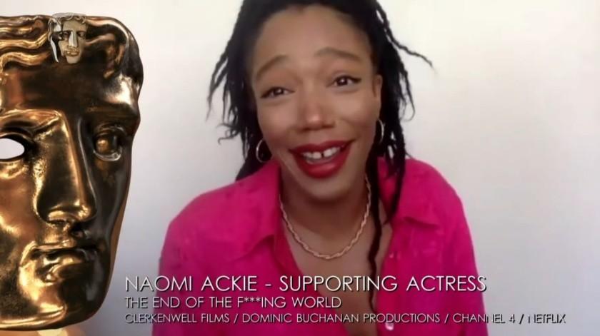 Naomi Ackie casi rompe en llanto al enterarse que ganó el BAFTA(Captura de pantalla.)