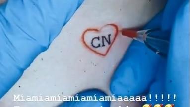 Un corazón con las iniciales de Christian Nodal.