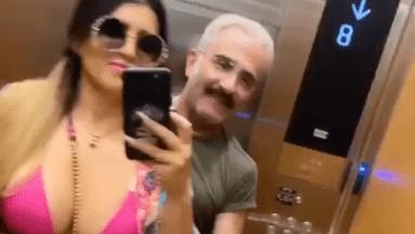 Con una tanguita, novia de Vicente Fernández Jr. le perrea dentro de un elevador