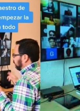 VIDEO VIRAL: Al ritmo de sonidero, maestro imparte su clase virtual